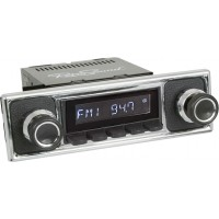 Retrosound Santa Barbara Black Pebble Black Classic Spindle Style DAB Radio with Bluetooth USB and Aux
