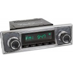 Retrosound Laguna Black Pinstripe Classic Spindle Style Radio with Aux In