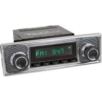 Retrosound Santa Barbara Black Pinstripe Black Classic Spindle Style DAB Radio with Bluetooth USB and Aux