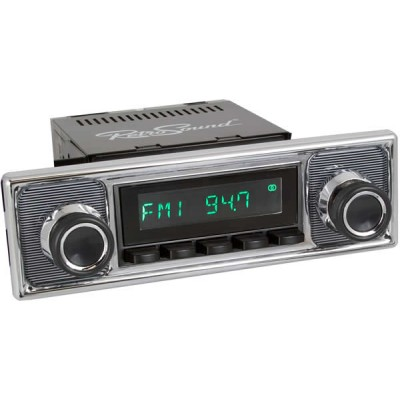 Retrosound Hermosa Black Pinstripe Classic Spindle Style Radio with Bluetooth