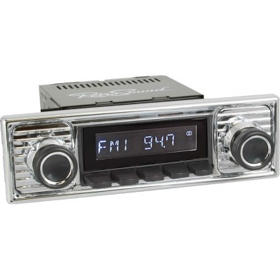 Retrosound Laguna Black Scalloped Classic Spindle Style Radio with Aux In