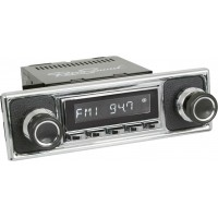 Retrosound Santa Barbara Chrome Pebble Black Classic Spindle Style DAB Radio with Bluetooth USB and Aux