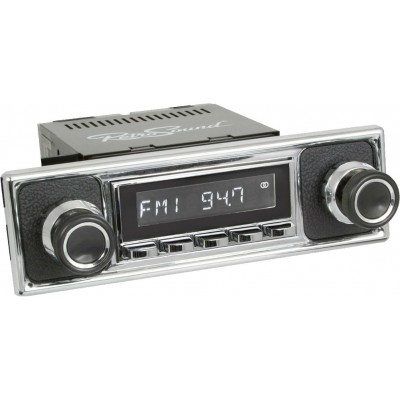 Retrosound Laguna Chrome Pebble Black Classic Spindle Style Radio with Aux In