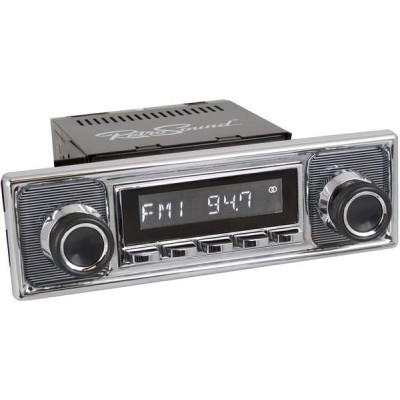 Retrosound Hermosa Chrome Pinstripe Classic Spindle Style Radio with Bluetooth