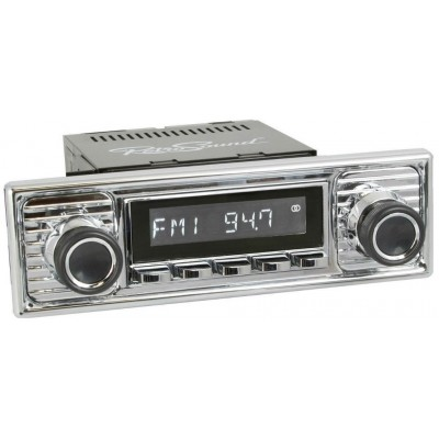 Retrosound Hermosa Chrome Scalloped Classic Spindle Style Radio with Bluetooth