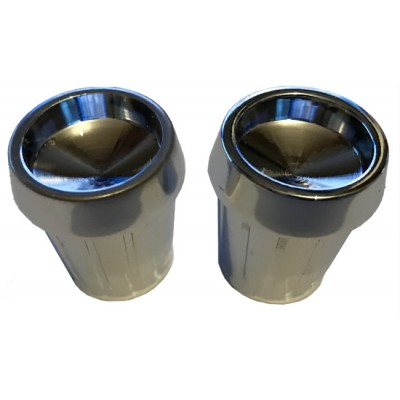 Chrome Metal Front Knob Set - Pair (#04)