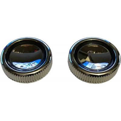 Chrome Plastic with Black Ring Front Knob Set - Pair (#08)