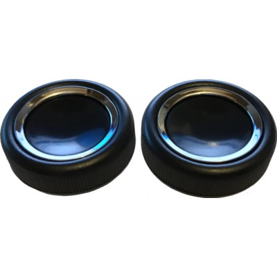 Black Plastic with Chrome Inset Ring Front Knob Set - Pair (#39)