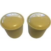Ivory Plastic Front Knob Set - Pair (#68)