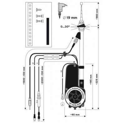 Hirschmann Universal Electric Retractable Antenna AM FM AUTA 2050