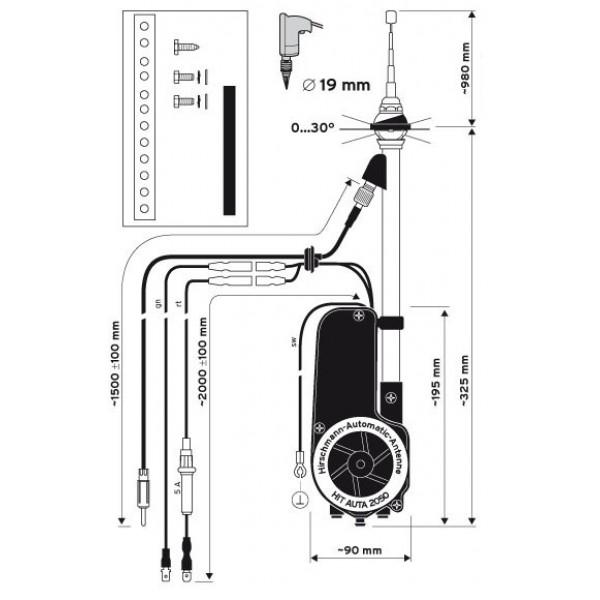 hirschmann universal electric retractable antenna am fm. Black Bedroom Furniture Sets. Home Design Ideas
