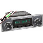 San Diego Classic DAB Car Radio Black Pinstripe Black Classic Spindle Style Radio with Bluetooth USB and Aux