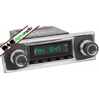 San Diego Classic DAB Car Radio Black Pebble Black Classic Spindle Style Radio with Bluetooth USB and Aux