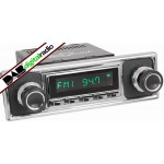 San Diego Classic DAB Car Radio Chrome Pebble Black Classic Spindle Style Radio with Bluetooth USB and Aux