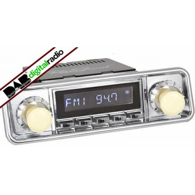 San Diego Classic DAB Car Radio Chrome Hooded Classic Spindle Style Radio with Bluetooth USB and Aux