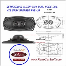 "Retrosound Single 4x8"" Dual Voice Coil Dash Speaker - R48N"